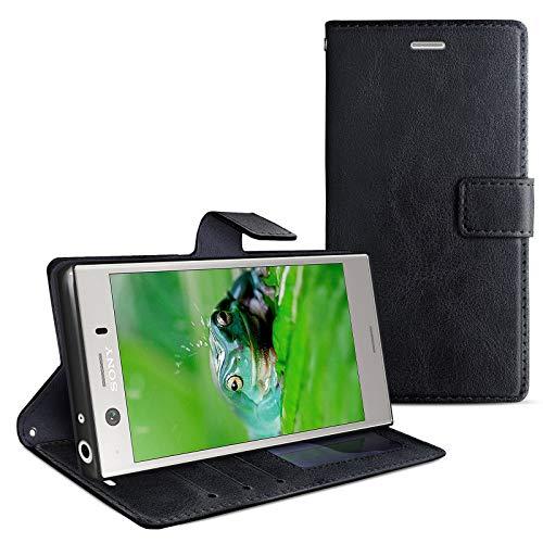 eFabrik Schutz Tasche für Sony Xperia XZ1 Compact Hülle Handy Schutztasche Schutzhülle Hülle Aufstellfunktion, Farbe:Schwarz