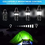 AKMONA Camping Lantern, 2 Pack with 8 Batteries High Lumens LED Lanterns Battery Powered, Suitable for Hurricane… 10 Super Bright & Large Area Brightness. 360-degree covered lighting with top spotlight provides high visibility to meet large area brightness. 4 lighting modes. Collapsible COB LED Lantern. Flashlight. Red Warning Light(Strobe & SOS light). The lantern is a vital filed survival tool and camping accessories. Long Last Run Time. Using 3*AA batteries (Included) as power supply enables it can be continuously used for a long time, which brings you to light for a long time to fulfill your needs. Energy-saving and suitable for camping, power outage, night fishing & hunting, emergency usage, hurricane and survival kit, etc. Novel Design, Metal Handle, And Magnet Base. Collapsible design (by pushing and pulling the handle) can turn on or close the lantern. A metal portable lantern can be used as a flashlight, vertical lift as a lantern, and can hangit on trees or others. 3 Strong magnets on the base can be adsorbed on any metal surface to free your hands.