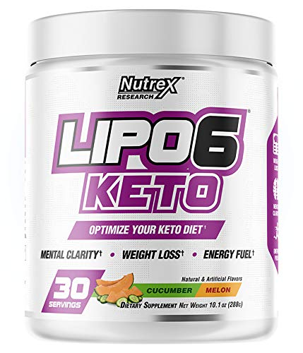 Nutrex Research Lipo-6 Keto | Keto Diet Drink Mix | Enhance Mental Clarity, Weight Loss, Increased Energy, BHB Salts | 30 Servings (Cucumber Melon)