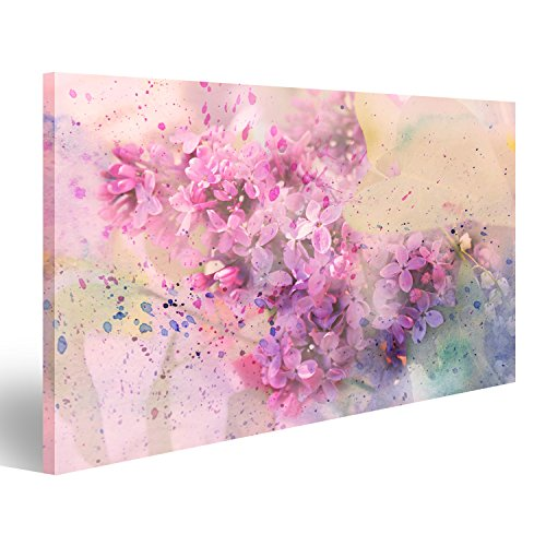 islandburner Cuadro Cuadros Impresión sobre Lienzo - Formato Grande - Cuadros Modernos Flores Pasteles con Efecto de Acuarela