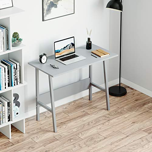 BELIWIN ladder Writing/Study Desk for Office and Home, Simple PC Laptop Workstation, Trapezoidal Computer Table for Bedroom (Grey)