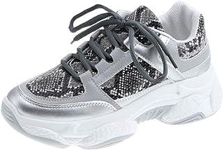 Hardloopschoenen Voor Dames Mode Slangenleerpatroon Dikke Sneakers Platform Casual Veters Platte Schoenen Ronde Neus Joggi...