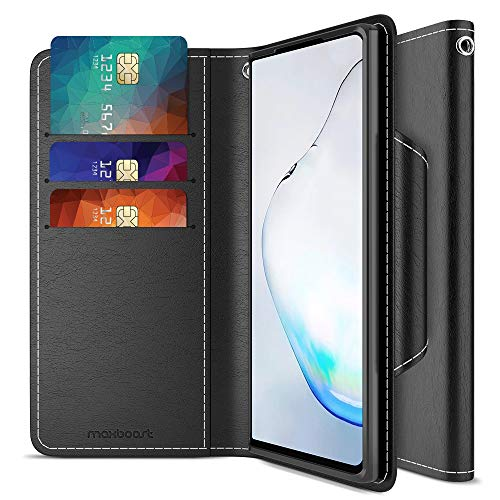 """Maxboost Galaxy S20 Plus Case mWallet Series Designed for Samsung Galaxy S20 Plus 2020 (6.7"""") [PowerShare Friendly] S20+ 5G Card Case Wallet (Black) w/Card Slot Side Pocket Magnetic Closure"""