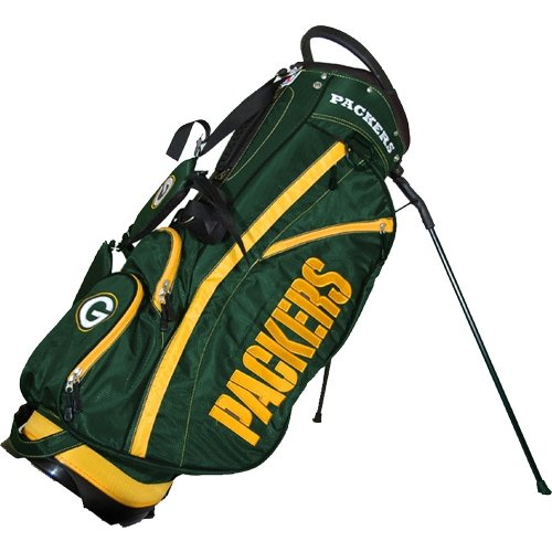 Team Golf NFL Green Bay Packers Fairway Golf Stand Bag, Lightweight, 14-Way Top, Spring Action Stand, Insulated Cooler Pocket, Padded Strap, Umbrella Holder & Removable Rain Hood