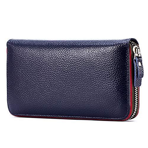 Cuero auténtico cremallera larga cartera primera capa cuero titular de la tarjeta monedero bolsillo mujeres múltiples ranuras tarjeta embrague teléfono bolsa, azul real (Azul) - PL-A066