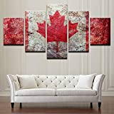 Vinilo Decorativo Cartel Pintura De La Lona Hd Wall Art 5 Panel Bandera De Canadá Tipo De Impresión Moderna Imágenes Ilustraciones Modulares Vintage Decoración Del Hogar-30x40cm 30x60cm 30x80cm