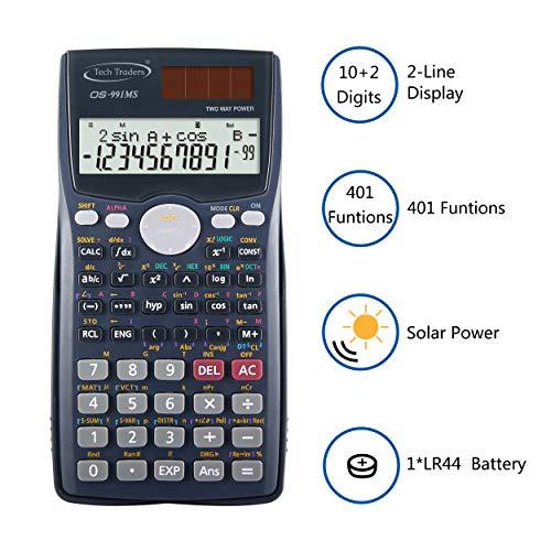 Wissenschaftlicher Taschenrechner, 401Funktionen, 2-zeiliges LCD-Display, duale Stromversorgung, für Ingenieurbetriebe, Büros, weiterführende Schulen, Abschlussprüfungen
