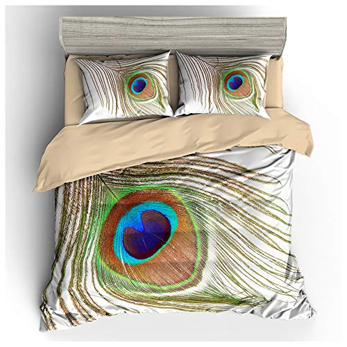 HOXMOMA 3D Animal Theme Bedding Sets 3 Piece, Peacock Pattern Printed 100% Polyester Duvet Cover with 2 Pillowcases, Soft Summer Quilt Cover for Kids and Adults,White,US King