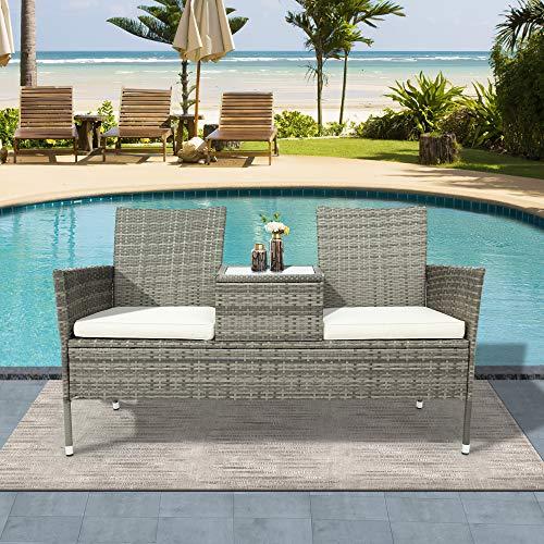BTM Polyrattan Gartenbank Gartensofa Garten Möbel Mit Tisch 2 Sitzer Loveseat inkl. 5cm Auflagen, Grau