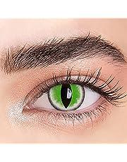 1ペアアニメコンタクトレンズ-直径14.5mmコスプレアイレンズ-補正なし0.00ジオプター-カーニバル、マルディグラ、ハロウィーン用のグリーンビューティー瞳孔カラーレンズ