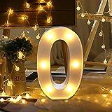 Decoración luminosa hogar decorativa digital 0-9 altura 22cm color blanco LED número de luz (A)