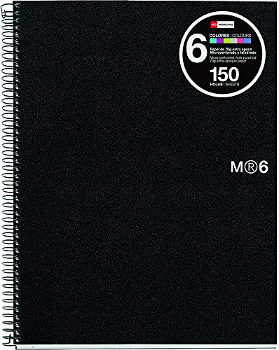 Miquelrius 8.5 x11 Wirebound Notebook, 6-Subject, College Ruled, Black