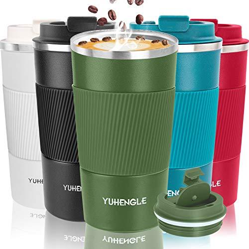 YUHENGLE Thermobecher- Isolierbecher, Edelstahl Travel Mug,18oz/510ml Vakuum auslaufsicher Reisebecher mit Deckel, Autobecher, doppelwandig isoliert für Kaffee, Tee, Kaffee-to-go Becher