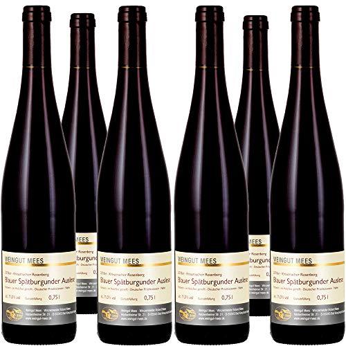 Weingut Mees SPÄTBURGUNDER ROTWEIN EDELSÜSS SÜSS AUSLESE 2018 KREUZNACHER ROSENBERG Prämiert Wein süß Deutschland Nahe Paket (6 x 750 ml) 100% Blauer Spätburgunder