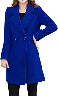 Xmiral Giacca Outwear Donna Invernale con Risvolto in Lana Trench Giacca a Maniche Lunghe Cappotto Outwear