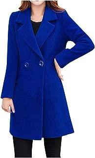 Womens Winter Lapel Wool Coat Trench Jacket Long Sleeve Overcoat Outwear Tops