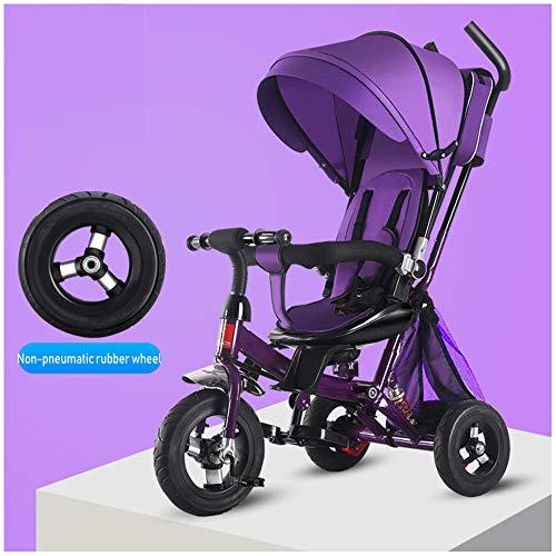 HYLH Dreirad FüR Kinder Von 2-5 Jahren, Dreirad 4 In 1 Baby Kinder Kinder Dreirad Fahrt Auf Peda Safe Canopy Bike Mit Griff (Khaki) 1-3-5 Jahre, Purple