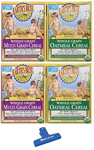 Earth's Best Organic Whole Grain Cereal Variety, Whole Grain Oatmeal & Multi-Grain, 8Oz, 2 boxes of each with Spice of Life Bag Clip
