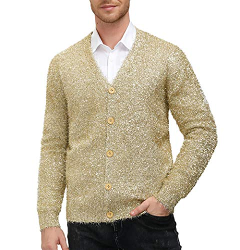Mens V Neck Button Down Sweater Cardigan Loose Fit Shiny Party Sweaters Camel L