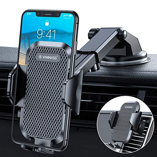 VANMASS Handyhalterung Auto aktuelle Version kfz Handyhalterung auf Armaturenbrett Windschutzscheibe Lüftung Auto Smartphone Halter 100% Kratzschutz Universal für alle Handys iPhone Samsung Huawei LG