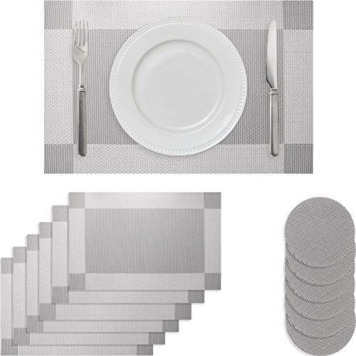 wiipara Placemat Set of 6 Heat-Resistant Non Slip Table Mats Washable Place Mats and Coaster Set for Kitchen Dining Table Home Restaurant (6 Placemat + 6 Coaster, Silver Grey)
