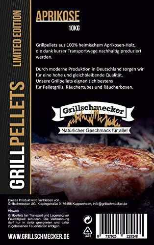 Grillschmecker Grillpellets - Natürliches Holzaroma für Grill, Pelletofen & Smoker - 10 kg Aprikosenholz