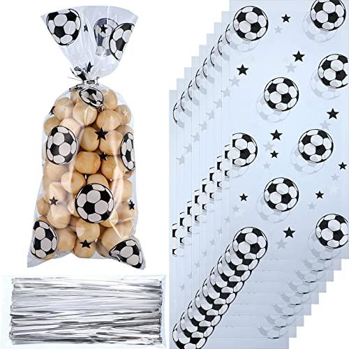 100 Stücke Fußball Party Bevorzugungen Tasche Heißsiegelbare Leckerbissen Bonbon Tüten Fußball Geschenke Tüte Fußball Geschenktüten mit 100 Stücke Silber Krawatten