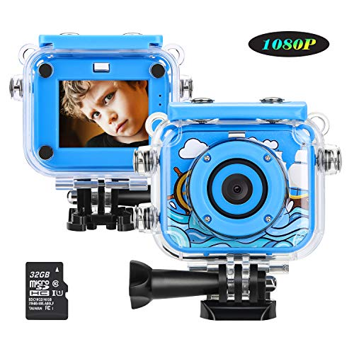 MYPIN Mini Kids Camera, Waterproof Digital Action Camera for Children 3-13 Years Old, Rechargeable Camcorder with 32GB SD Card (Blue)
