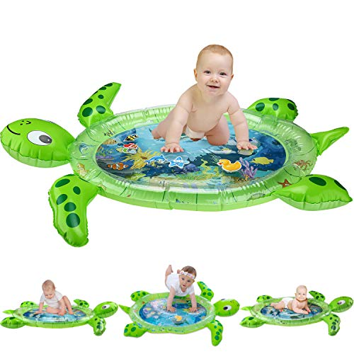 gebra Inflatable Tummy Time Water Mat Sea Turtle Shape Infants & Toddlers Play Mat Toy, Fun Play Activity Center Your Babys Stimulation Growth (BPA Free, 43 35 2.5)