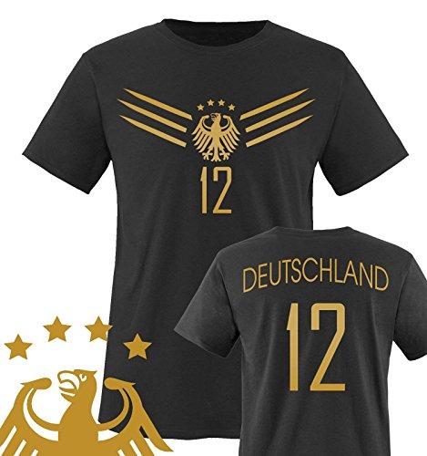 Comedy Shirts - WM 2014 - Deutschland - Deluxe F1-VH-12 - Kinder T-Shirt - Schwarz/Gold Gr. 134-146