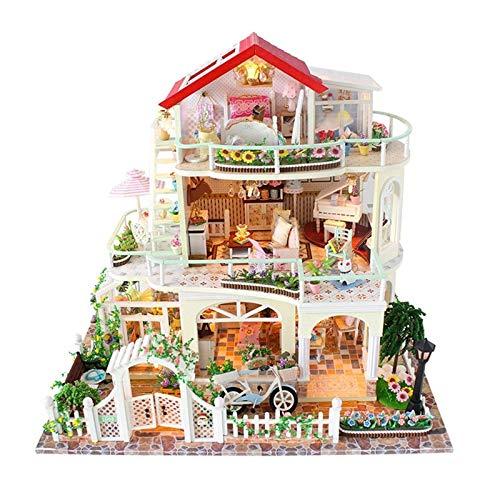 Piezas mecánicas Kit de casa de bricolaje en miniatura Casa de muñecas de madera Casa de bricolaje Juguetes hechos a mano para niños Casa de juegos LED Casa creativa con accesorios de muebles Mobil