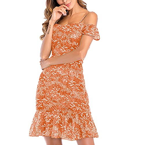 Vestido De Gasa De Verano Floral con Un Solo Hombro Vestido Femenino PequeñO Fresco Y Sexy