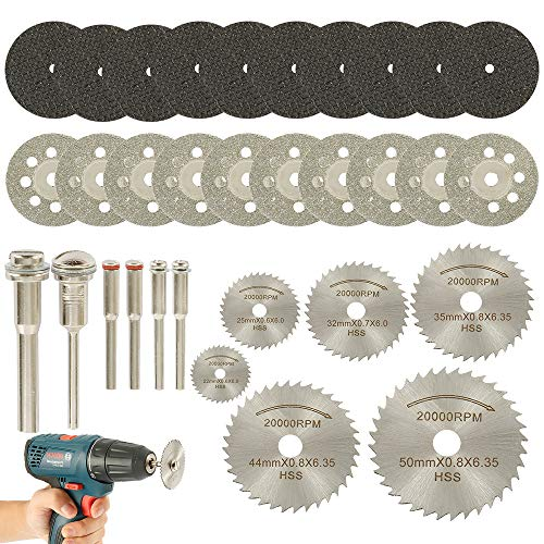 You's Auto 32 Pcs Circular Saw Blade Set 26 Cutting Wheel Discs with 6 Mandrels Mini HSS Saw Blades Diamond Cutting Discs Resin Cut Off Disc Combo Cutter Kit for Wood Glass Plastic Stone Metal