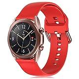 RIOROO 20mm Correa Compatible para Samsung Galaxy Watch 3 41mm / Active / Active 2 40mm 44mm Correa Mujer Hombre Sport Silicona Band Rojo, Accesorios (sin Reloj), S