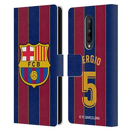 Head Case Designs Licenciado Oficialmente FC Barcelona Sergio Busquets 2020/21 Players Home Kit Group 2 Carcasa de Cuero Tipo Libro Compatible con OnePlus 8 5G
