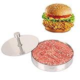 La Presse Hamburger en 304 Acier Inoxydable, Moule de Steak Haché&Sandwich,Accessoires de Cuisine-pour Barbecue Pique-nique Housemade Hamburger(9,5 x 1,8 cm)