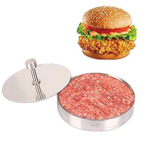 Pressa per hamburger in acciaio inox con rivestimento antiaderente in alluminio, per hamburger, strumenti fai da te adatti per vari polpettoni in cucina, barbecue (9,5 x 1,8 cm)