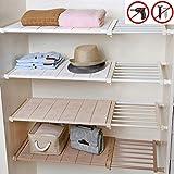 Yoillione Erweiterbare Regale, Kleiderschrank-Organizer, Schrank-Regal für Küche, Lüftungsschrank, verstellbare Aufbewahrungsregale, unter der Spüle, Schuhregal, erweiterbares Bücherregal, Beige