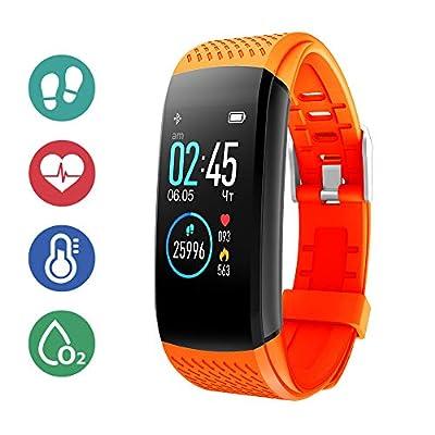 Superme Fitness Activity Tracker with Heart Rate Sleep Monitor, IP67 Waterproof Pedometer, Orange
