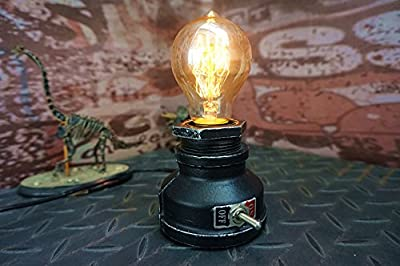 Y-Nut Loft Style Lamp,The Corporal Steampunk Industrial Vintage Style, Water Pipe Table Desk Light with Dimmer, Aged Rustic Metal