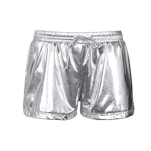 Smile Fish Women's Metallic Shorts Alien Costume Elastic Waist Shiny Pants Silver,S