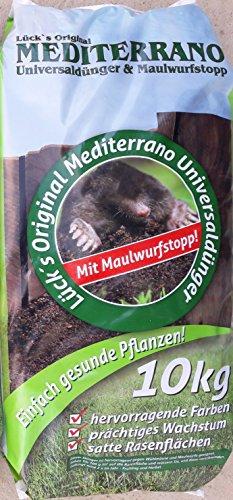 Lück´s Mediterrano-Universal-Rasen-Profi-Dünger Maulwurf-Stopp 10KG gegen Maulwürfe Wühlmäuse Spezial-Langzeit-Garten-Dünger mit Maulwurf-Bekämpfung Palmen-Dünger Mediterrane Pflanzen düngen