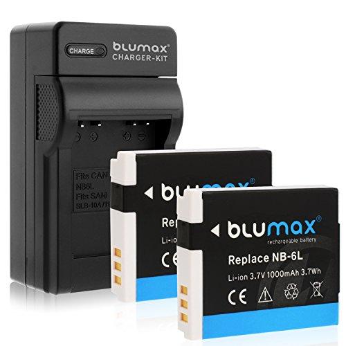 1x Ladegerät + 2x Akku für Canon NB-6L kompatibel mit Canon PowerShot D30 SX170 SX240 SX260 SX270 SX280 SX500 SX510 SX520 SX530 SX600 SX610 SX700 SX710 S95 S100 S120 S200 lader akku haus kfz usb