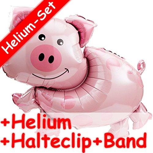 Anagram/Dekospass XXL-Folienballon Set * Schwein * + Helium FÜLLUNG + Halte Clip + Band * // Aufgeblasen mit Ballongas // Deko Geburtstag Folien Ballon Luftballon Geburtstag