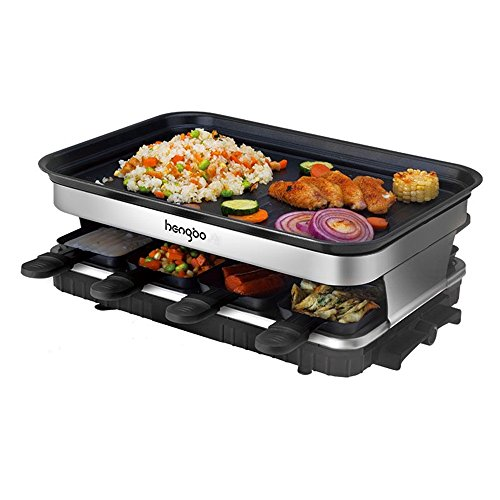 Raclette Grills for 8, Indoor Barbecue Griddle with Non-Stick Coating Grill Plate, 8 Mini Pans, 1500W Adjustable Temperature Control for 8 Person