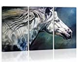 White Horse On The Blue Backgroud Wall Art Decor Canvas Painting Kitchen Prints Pictures For Home Living Dining Room