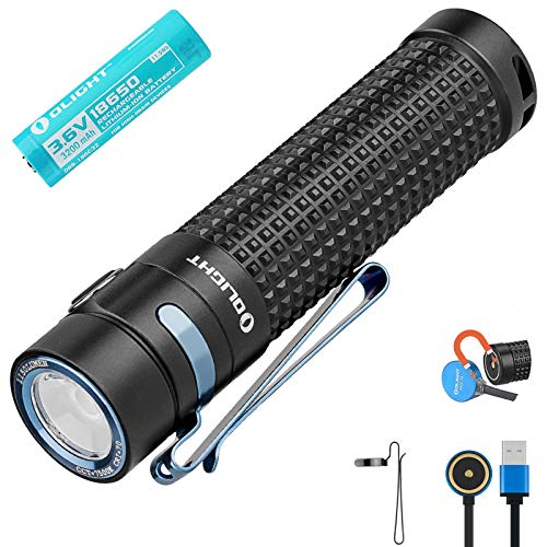 Olight S2R Baton II EDC Torch 1150 Lumens 135 Meters Luminus Cool White LED USB Magnetic Rechargeable Portable Torches Variable Output Hand Flashlight Lampwith 18650 Battery Tidusky Battery Case