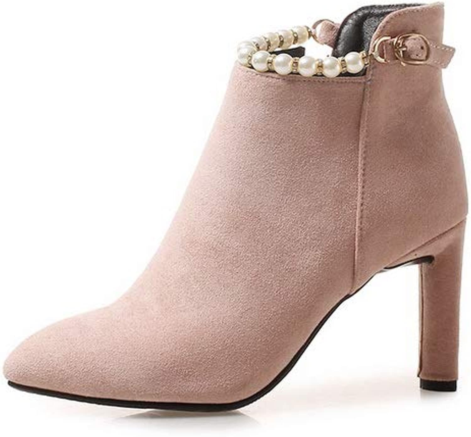 AN Womens Chunky Heels Pointed-Toe Bead Imitated Suede Boots DKU02411