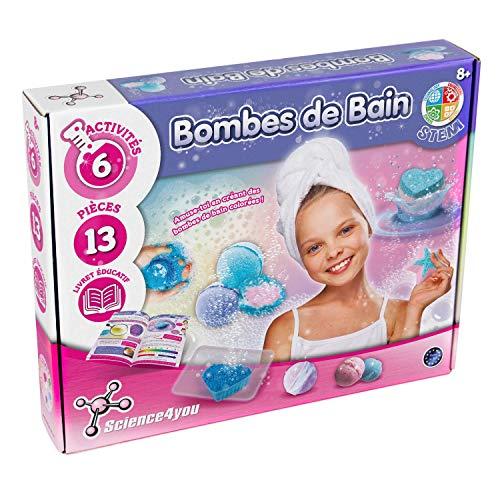 Science4You - Fabrique Bombe de Bain Enfant -Expériences Scientifiques - Découvertes Cosmétiques - Loisirs Créatifs - Bath Bombs - Activité Manuelle pour Enfants - Cadeau Fille dès 8 ans -Sans Danger
