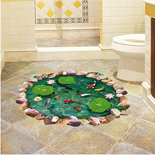 Lotus Pond 3D Pegatina De Suelo Pez De Agua Pegatina De Pared Vinilo De Pvc Decoración Del Hogar Baño Dormitorio Suelo Decoración Impermeable 60X90Cm